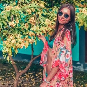 New Floral Swim Kimono Cover Up Duster Cardigan